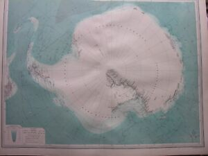 1920 MAP OF ANTARCTICA - SOUTH POLAR REGIONS Plate 9 Times Atlas of the World