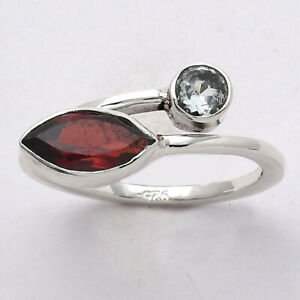Hessonite Garnet and Sky Blue Topaz 925 Sterling Silver Ring s.6.5 Jewelry E301