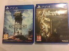 2 x UK/EURO PAL PLAYSTATION 4 PS4 GAMES STAR WARS BATTLEFRONT + FALLOUT 4 / IV