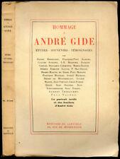 Collectif : HOMMAGE A ANDRE GIDE, Etudes - Souvenirs - Témoignages... 1928