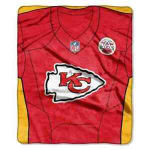 "Kansas City Chiefs Jersey Design 50"" by 60"" Plush Raschel Throw Blanket - NFL"