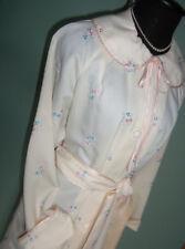 Lovely! Vtg Ariel Floral Embroidered & Satin Trim Full Length Robe sz M Xlnt!