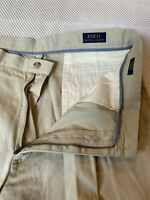 "Polo Ralph Lauren 35 x 9"" Beige Classic Fit Cotton Pleated Twill Chino Shorts"