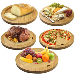 5-in-1 Bamboo Food Board Cheese Meat Chopping Carving Pizza Party Serving Tray