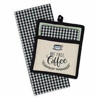COFFEE TIME Embroidered Pocket Pot Holder & Dish Towel Gift Set