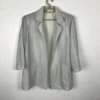 Chico's Open Front Cardigan Blouse Size 2 Blue Silver 3/4 Sleeve Nylon Rayon