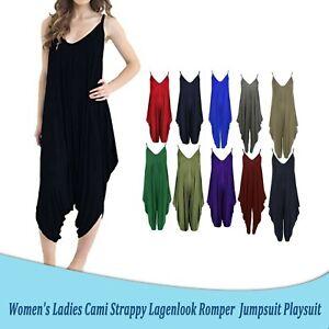 Women Ladies Cami Strappy Legenlook Romper Baggy Hareem Jumpsuit Harem Playsuit