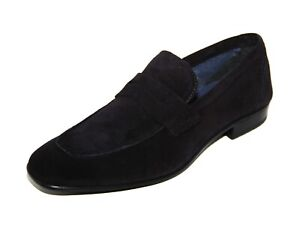 Roland Cartier Mens Navy Blue Suede Beech Saddle Unlined Loafers