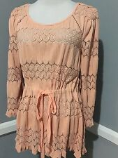 New $ 78 FREE PEOPLE Fancy,Peach,Lace ,Long Sleeve SWEATER-TOP, size L