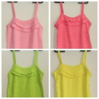 Girls Summer Sleeveless VEST TOP w/Frill Detail - in 11 Colours - NEW - 1-6 Yrs