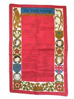Vintage Linen The Royal Lineage Alfred The Great to Queen Elizabeth II Tea Towel