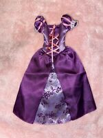 Disney Princess Barbie Doll Dress Gown Tangled Rapunzel With Flower Pattern
