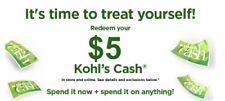 $5 Kohls Cash Expires 10/1/2020