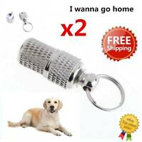 Pet Dog Cat Anti-Lost Puppy ID Address Name Label Tag Barrel Tube Collar Leash*2