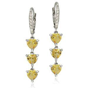 Sterling Silver Citrine and White Topaz Heart 3-Stone Dangle Earrings