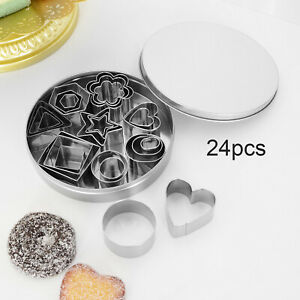 24pcs Multiple Shape Stainless Steel Food Cookie Cutter Set Baking Pastry Tools