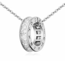18K White Gold GP White Swarovski Crystals Chain Pendant Beautiful Necklace