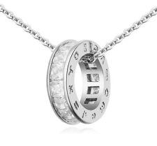 18K White Gold GP White Swarovski Crystals Chain Pendant Beautiful Necklace
