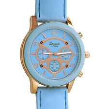 Rose Gold Rubber Fashion Watch Pastel Blue
