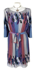 LEONA EDMISTON Dress- Vintage Retro Blue Grey Purple Tie Belt Crinkle Stretch 16