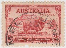 (AUZ41) 1934 AUSTRALIA 2d carmine light hills SG150