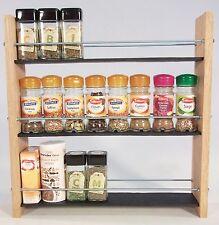 Oak Slate Design.. Spice / Herb Rack ..3 Tier, 24 Jar - Modern, Contemporary
