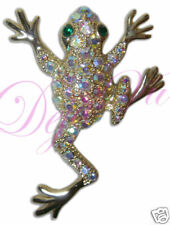 NEW Crystal Rhinestone Frog Brooch MADE WITH SWAROVSKI ELEMENTS