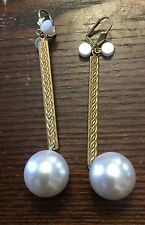 Upcycled Raw Brass Embossed Long Line Chunky Faux Pearl Drops w Accent Earrings