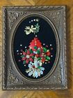 """Vintage Jewelry Art Christmas Display in Frame 9"""" x 7"""" Hand Crafted OOAK"""