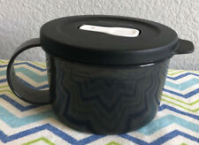 Tupperware Crystalwave Microwave Safe Soup Mug w/ Handle 2 Cups Black New