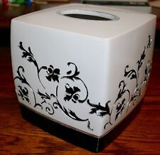 """""""Sussex"""" hand painted White & black Tissue Box Cover - Very pretty"""