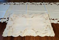 13 Pc. Vintage Fine Madeira Cutwork Embroidered Placemats and Runner - S3