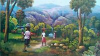 """Haitian Painting by the Master Georges Winscol 16"""" X 20"""" canvas Haiti Art Seller"""