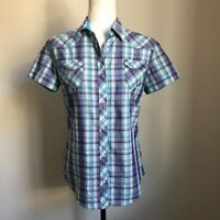 KUHL Short Sleeve Hiking Shirt Womens Small Western Plaid Lightweight Pearl Snap