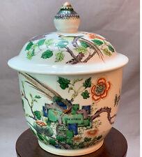 Antique Chinese Porcelain Jar Famille Verte Qing Kangxi Period Vase & Cover