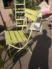 alte Gartenstuhl Biergartenstuhl antik shabby chic Lieblingsplatz gelbgrün