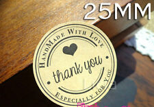 24x Invitation THANK YOU HAND MADE WITH LOVE Wedding Birthday Seal Sticker Label