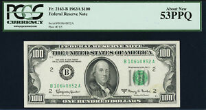 Fr. 2163-B $100 1963A Federal Reserve Note. PCGS About New 53PPQ.