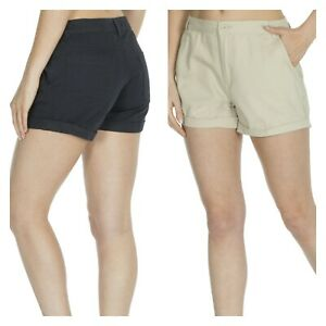Ladies Chino 100% Cotton Twill Summer Holiday Hotpants Soft Feel Shorts Size
