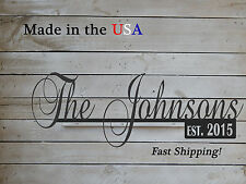 """12"""" Name Sign with Established Date-Family Name Decor-Metal Name Sign-S1220"""