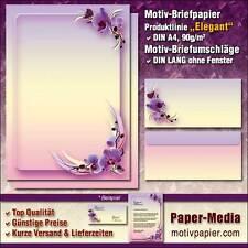 ORCHIDEENBLÜTEN - 20-tlg. Motiv-Briefpapier-Set, 10 Baltt und 10 Umschläge