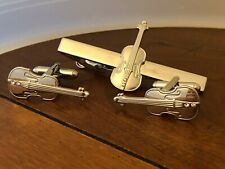 Violin Music Instrument Cufflinks and Tie Bar Clip