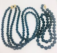 Lot of 2 Black Glass Beaded Necklaces Double Strand French Jet Vintage Jewelry
