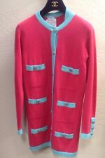 Chanel Rare 90's cashmere pink green long cardigan sweater set Vintage sz 40 M