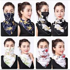 Women's Face Chiffon Neck Scarf Protect Mouth  Washable Floral
