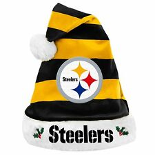 Pittsburgh Steelers Team Logo Holiday Plush Santa Hat NEW! Christmas STRIPED