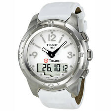 Tissot T-Touch II Titanium Diamond White Leather Ladies Watch T0472204601600