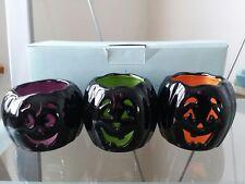 Nib Partylite Jack o lantern Halloween Pumpkin Heads Tealight Trio #P8973