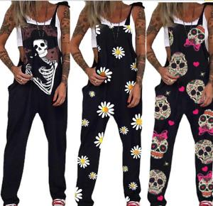 Women Summer Skull Casual Sleeveless Ladies Beach Playsuit Jumpsuits E5031