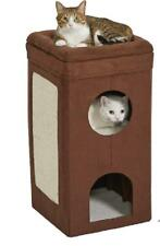Curious Cat Cubes Condo Brown Double Story Faux Suede Large Sisal Scratch Pad
